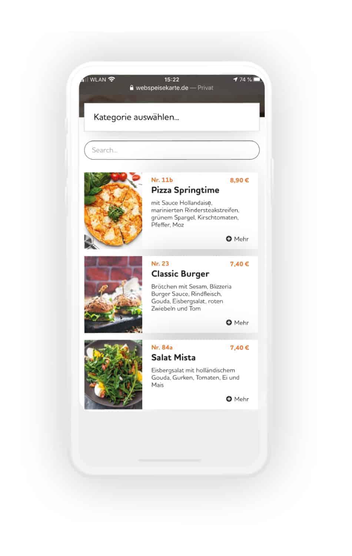 Digitale Speisekarte Flyer und Handy2 - WebSpeisekarte