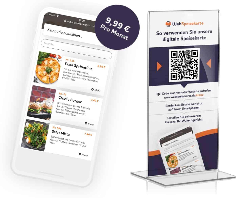 Digitale Speisekarte Flyer und Handy - WebSpeisekarte